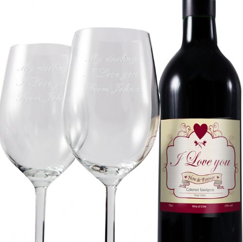 Personalised I Love Red Wine and Two Glasses